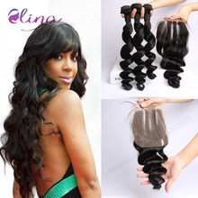 9a Grade Brazilian Loose Wave Virgin Hair 3 Bundles With a Closure Brazilian Virgin Hair Loose Wave Human Hair Bundles