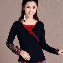 แห่งชาติลมแขนยาวเสื้อยืดหญิง2016แฟชั่นฤดูร้อนใหม่สไตล์จีนผู้หญิงผอมบางเสื้อผ้าฝ้ายขนาดบวกW178