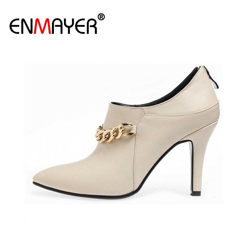 ФОТО ENMAYER Women Zip Pointed Toe High Heels Shoes Woman Fashion Big Size 34-43 Lady Dress Party Dance Pumps Shoes Metal Chain
