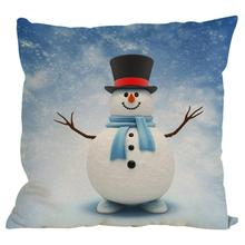 New Christmas Snowman Cotton Linen Pillow Cover Sofa Cushion Home Decor Gifts Printing Throw