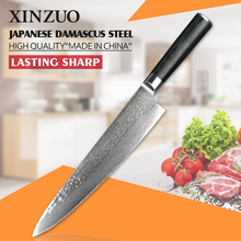 XINZUO Damascus steel kitchen knife 9.5 inch chef knives high quality Japanese VG10 steel  color wood handle Free shipping
