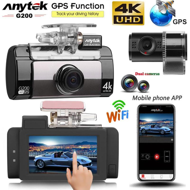 Anytek G200 2.7in Écran Tactile Double Lentille 4 k UHD WiFi Voiture DVR Caméra WDR Night Vision GPS Logger Voiture DVR Dash Caméra pour Voiture en Toute Sécurité