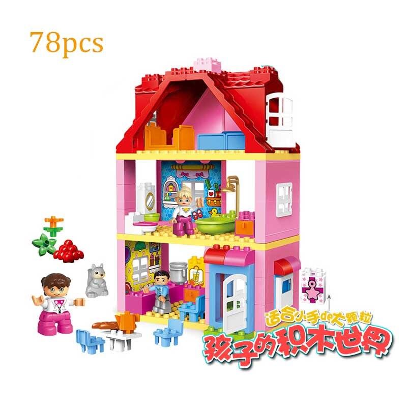 78 pièces grosses particules ville poupée maison bricolage blocs de construction briques éducatifs bébé jouets compatibles Duplo