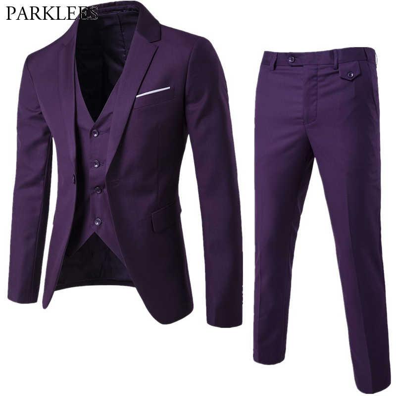 3 pc 男性紫色のスーツ (ジャケット + パンツ + ベスト) ブランドスリムフィットエレガントなスーツとパンツメンズグルーミング Busienss タキシードスーツ Ternos S-6XL