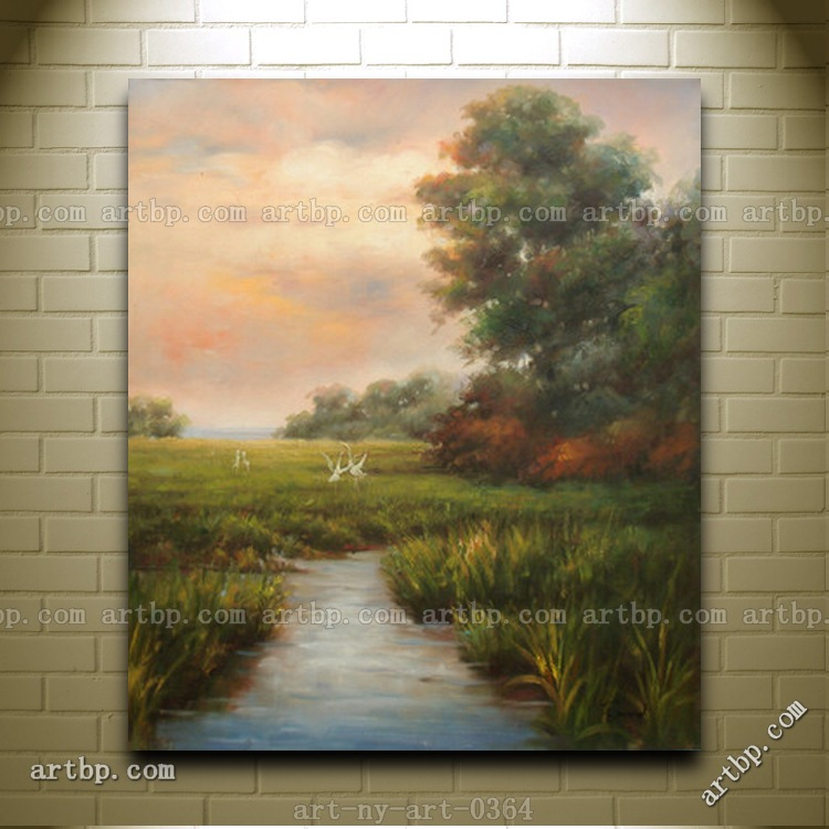 Nice oil painting of landscape egrets on field tree river for Nice acrylic paintings