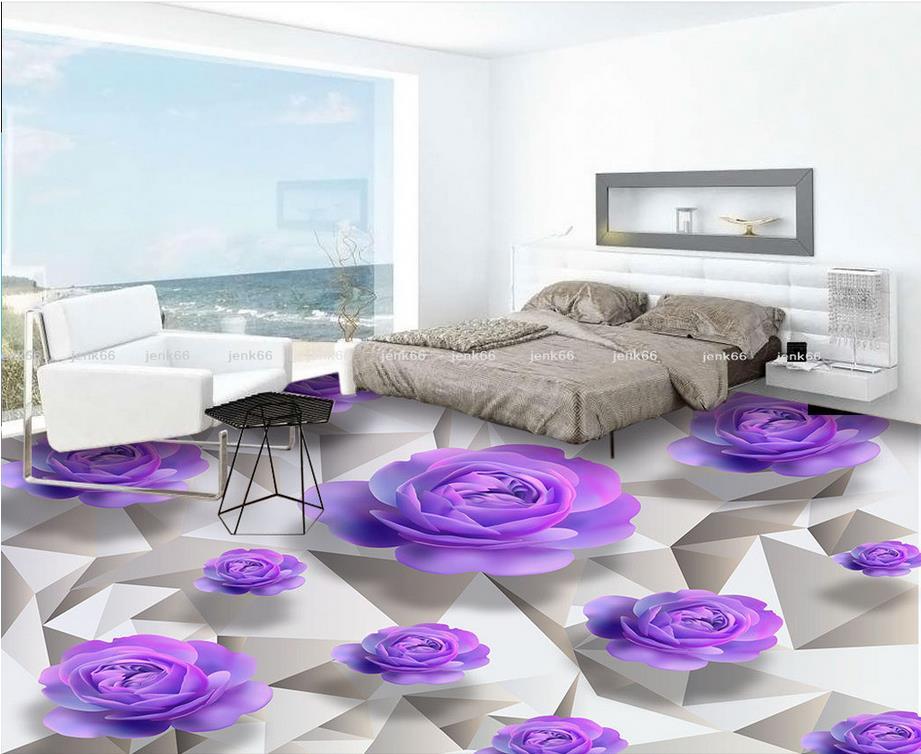 PVC Waterproof Floor 3D Wall Murals Wallpaper Floor Purple Roses Romantic  Bathroom 3D Floor Home Decoration Part 51