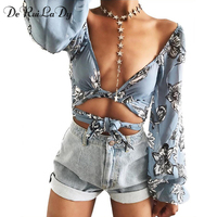 DeRuiLaDy Women Summer Beach T Shirt Sexy Lace Up Flower Print Female Loose Tops Long Speaker