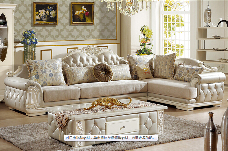Perfect U BEST European Style Sofa New Classic Leather Sofa/ The Living  Room Corner Combined