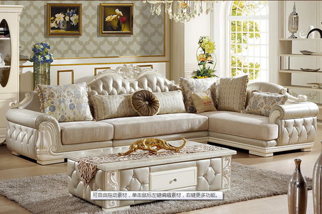 U-BEST European style sofa New classic leather sofa/ the living room corner  combined