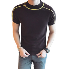 Summer New Men Knitted T-shirt Male Fashion Casual Slim Fit Short Sleeve Tees Shirts High Quality Sweater T-shirt