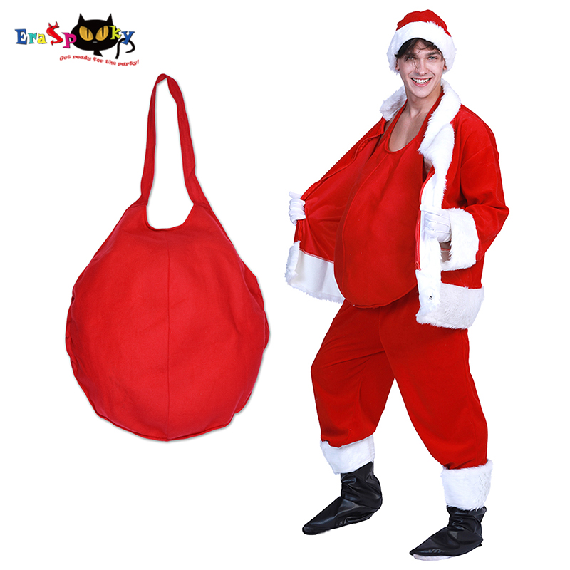 Eraspooky Red Mens Santa Claus Belly Cosplay Christmas Costume Adult Pot Belly Father Christmas Carnival Party Accessories