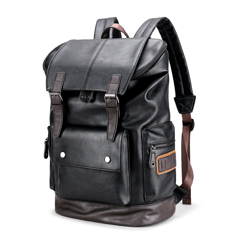 Large Capacity Men's Leather Laptop Backpack Male Luggage Bag Casual School Bags Men Daypacks Leather Travel Backpack mochila male bag vintage cow leather school bags for teenagers travel laptop bag casual shoulder bags men backpacksreal leather backpack