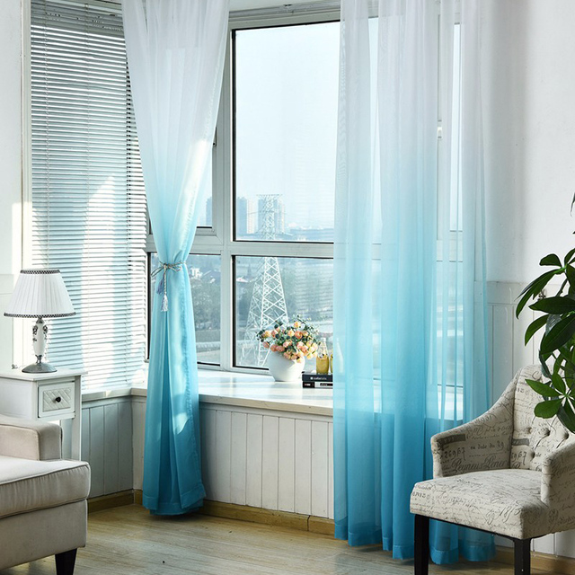Living room decorative tulle curtain translucent gradient color curtains for bedroom sheer