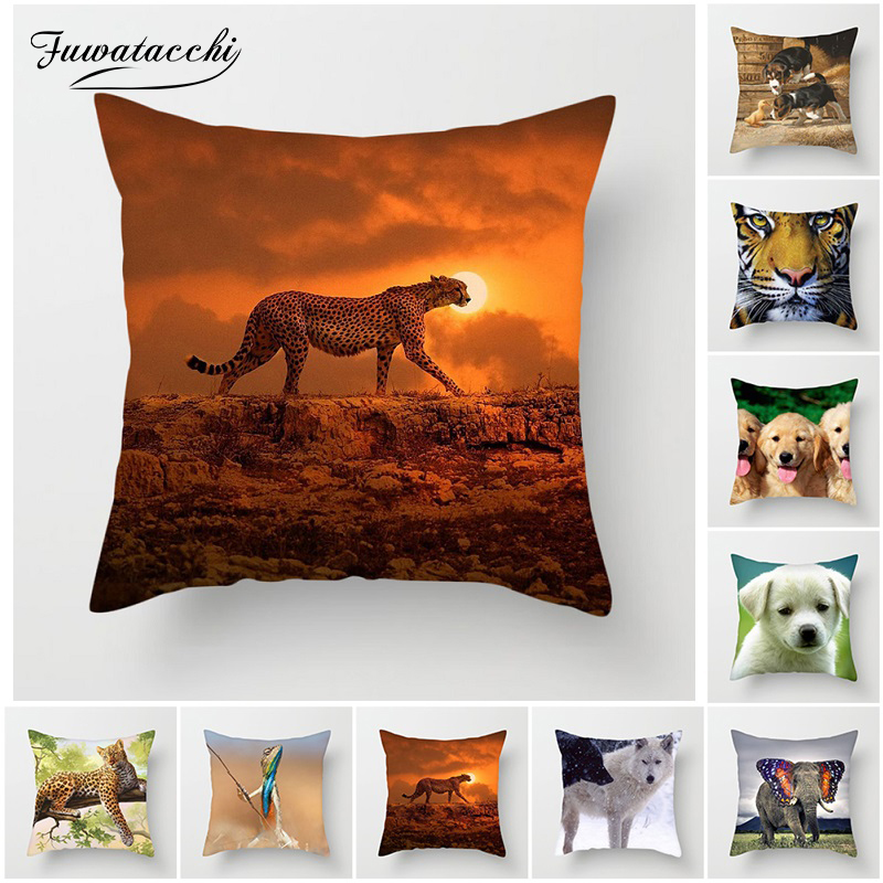 Fuwatacchi Wolf Animal Cushion Cover Cute Duck Dog Tiger Giraffe Throw Pillow Cover Decorative Home Sofa