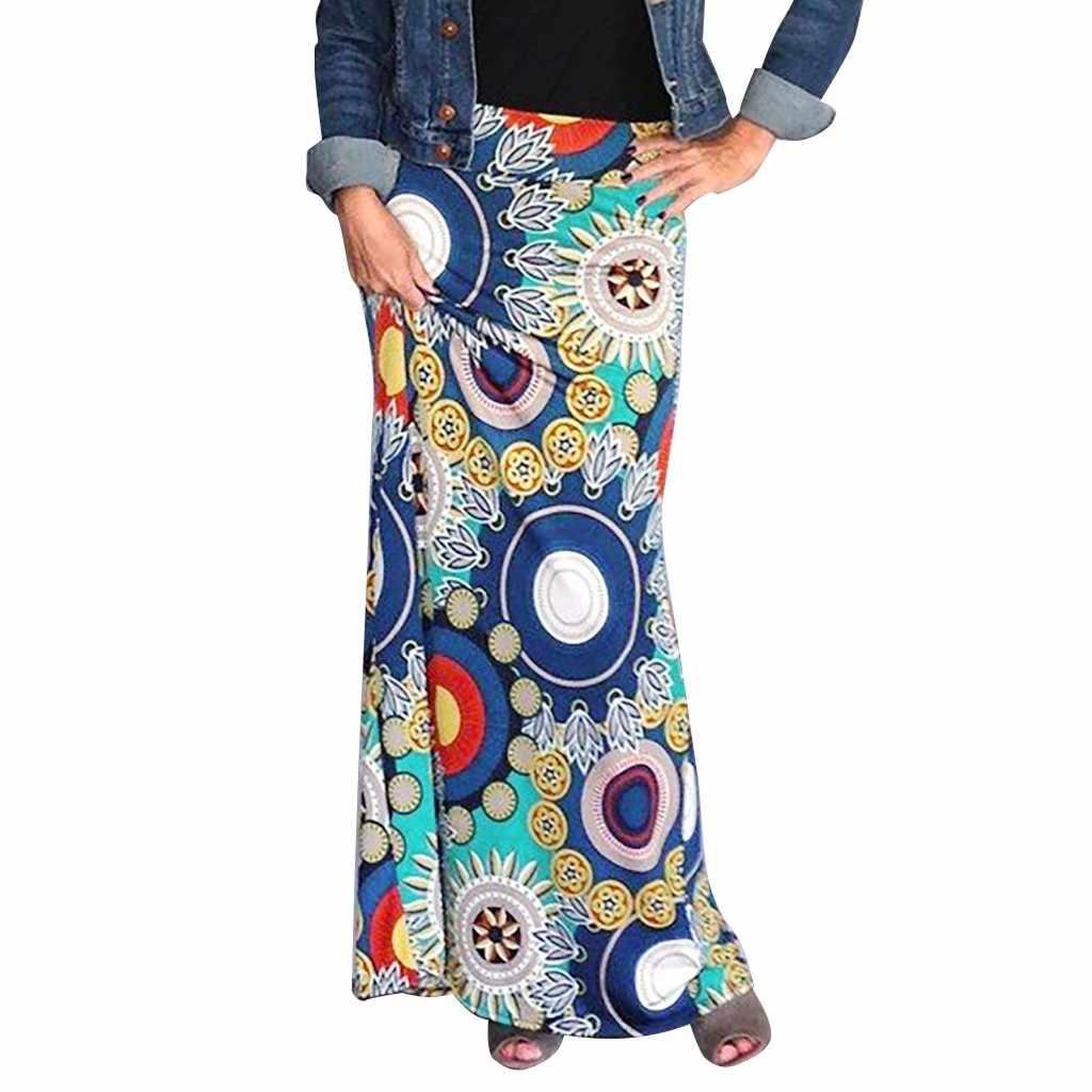 De alta calidad de las mujeres de la señora de alta cintura Bodycon confort verano bohemio impreso Maxi Falda larga de Saia Plissada # BZ