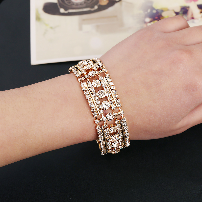 New Fashion gold / silver plated Austrian crystal brand jewelry 5 Multi-chain rhinestone bracelet women fine Jewellry