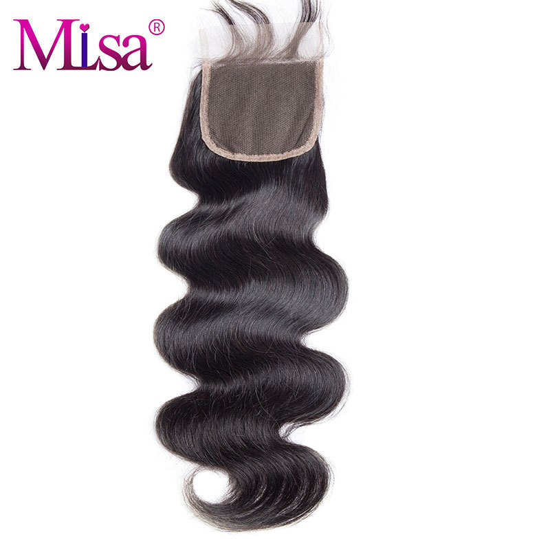 Body Wave Closure With Baby Hair Hand Tied Remy Human Hair 10-20 inches Thick Mi Lisa Hair Free Part 4x4 Swiss Lace Closure