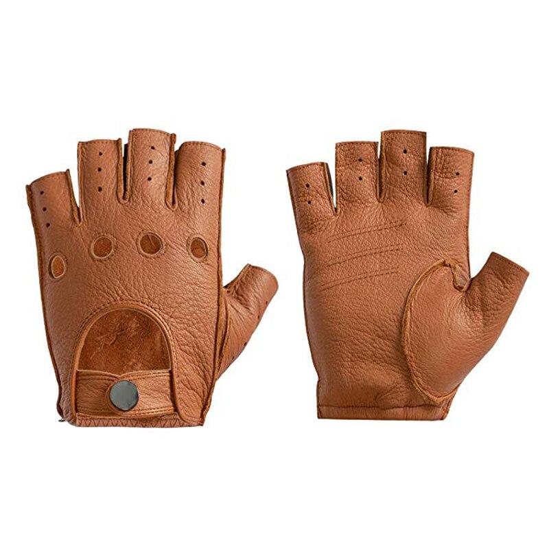 Genuine Leather High-Quality Semi-Finger Men Leather Gloves Men's Unlined Driving Fingerless Goatskin Gloves Male