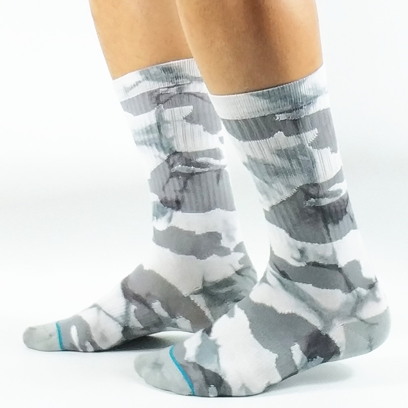 Mens Tie Dye White Camouflage Skate Socks USA Size M(6-8.5),L( 9-12) ,Euro Size 39-42,42-45 (Not Thick)