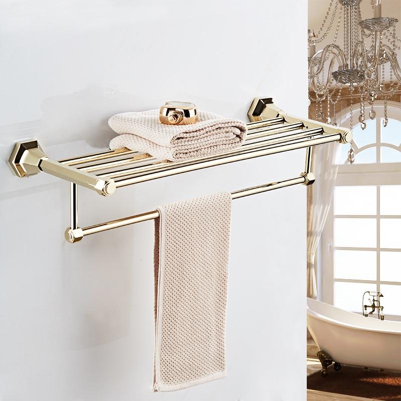 VidricShelves High Quality Wall Mounted Black Chrome Finish Towel Rack Holder Hanger Bath Towel Clothes Storage Shelf 93012