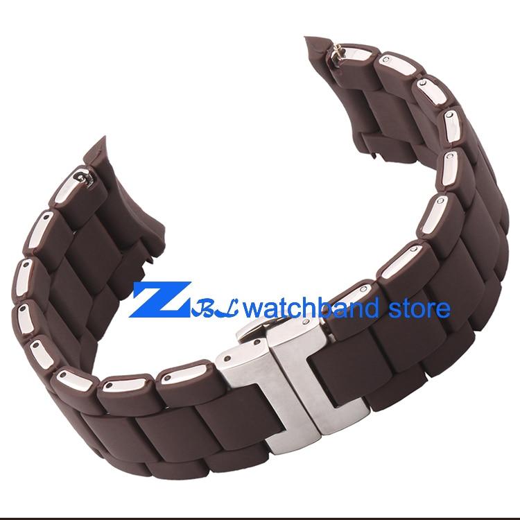 Kauçuk kordonlu Saat Çelik kahverengi silika jel adam 23mm kadın - Saat Aksesuarları - Fotoğraf 4