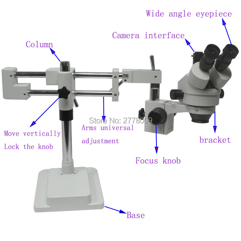 3.5X-90X Double Arm Boom Stand Trinocular Stereo Zoom Microscope With 16MP HDMI USB Camera 144 LED Lights Mobile CPU Repair