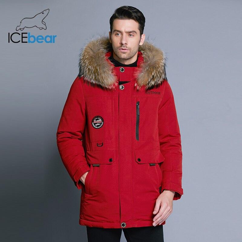 ICEbear 2018 nuevos hombres del invierno abajo chaqueta de alta calidad abrigo de Cuello de piel desmontable sombrero y Cuello de piel de hombre ropa MWY18940D