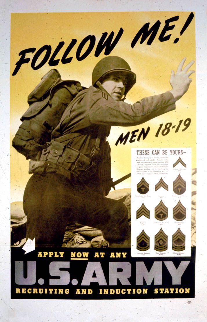 posters_U.S.Army Follow Me Classic WW2 Propaganda Retro Vintage Kraft Decorative Poster DIY ...