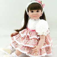 New Arrived 60cm Reborn Dolls Silicone Lovely Girl Birthday Gift Toys With Big Eyes Pink Clothes Soft Touch Dolls Brinquedos
