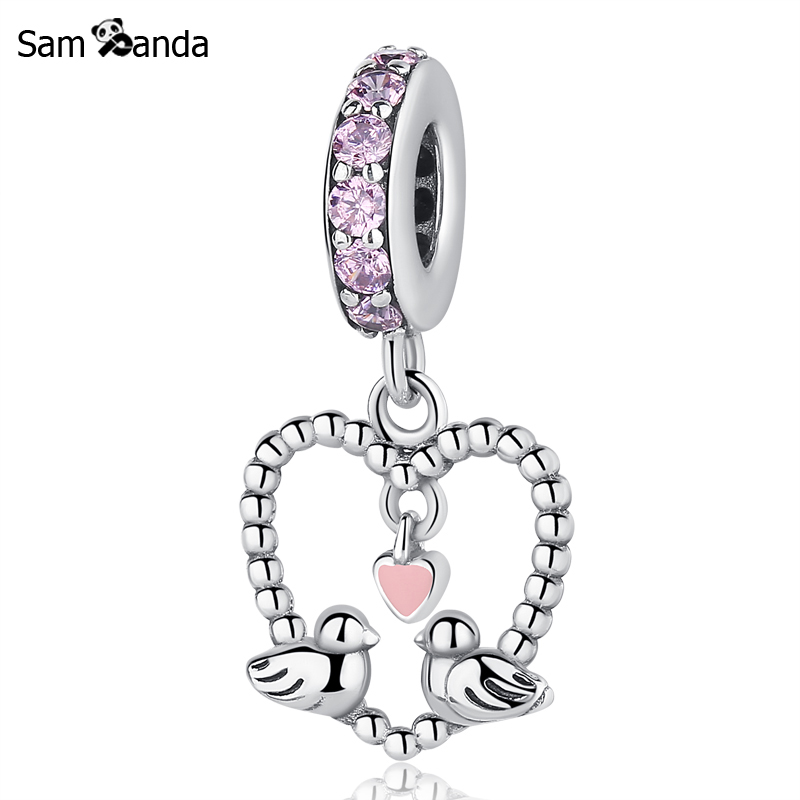 f41e27485 ... czech authentic 925 sterling silver charm bead pink love bird couple  pedant charms fit pandora bracelets