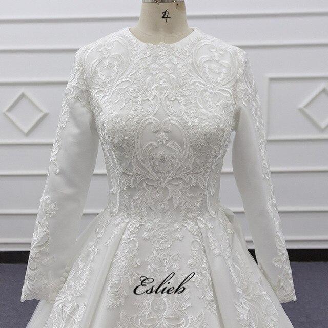 Noiva 2019 Vintage Ball Gown Abiti Da Sposa O-Collo Del Merletto di Applique Manica Lunga Abito Da Sposa Plus Size Custom Made SJ119