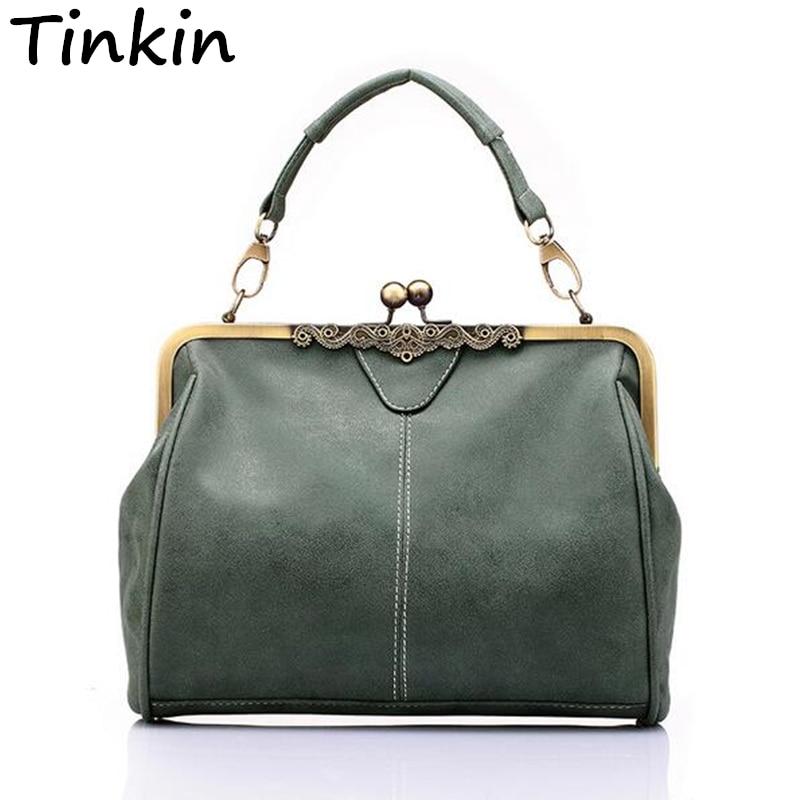 Tinkin British Vintage Hardware Mate Mujeres Messenger Bags Mujer Bolso Bandolera Bolso Clásico Helado