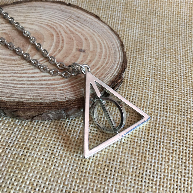 Wholesale 20 Pcs A Lot Movie HP Necklace The Deathly Hallows Rotated Triangle Pendants&Necklaces For Women&Men Charms