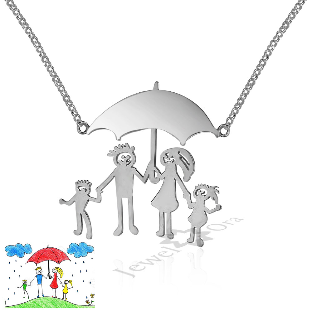 DIY Jewelry Custom Family Children Gifts Personalized 925 Sterling Silver Loving Family Drawing Thanksgiving S925 Necklace наталья землянская хельсинки в кармане путеводитель