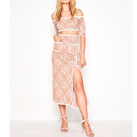 Knitted Two Piece Set Women 2019 New Off Shoulder Sexy Crop Top and Plaid Side Split Long Skirt Sets Conjuntos De Mujer Knitwear