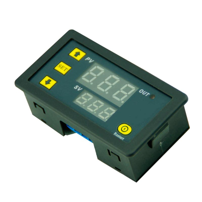 DC12V 20A Digital LED Dual Display Time Delay Relay Module Timing 0-999s 0-999m 0-999h Timer Cycling 220vac digital time delay repeat cycle relay timer 1s 990h led display 8 pin panel installed dh48s s spdt