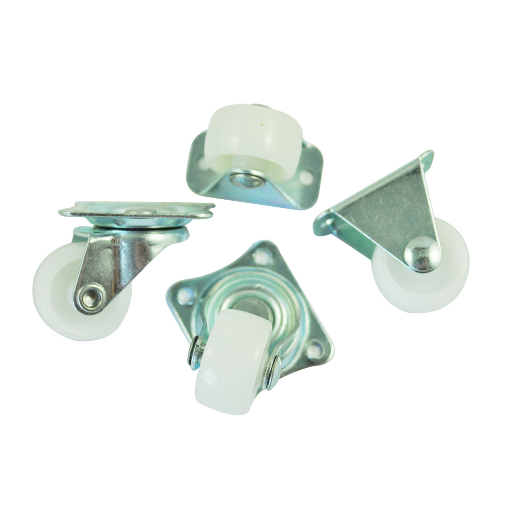 Hot sale in stock New 4 Pcs Practical 1 Plastic Wheel Rectangle Top Plate Fixed Swivel Caster Set