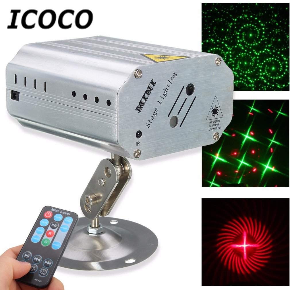 ICOCO Voice Control Music Rhythm Flash Light LED Laser Projector Stage Light DJ Disco Club Outdoor Indoor Dancing Party Ballroom laser head wave music system awrcc7