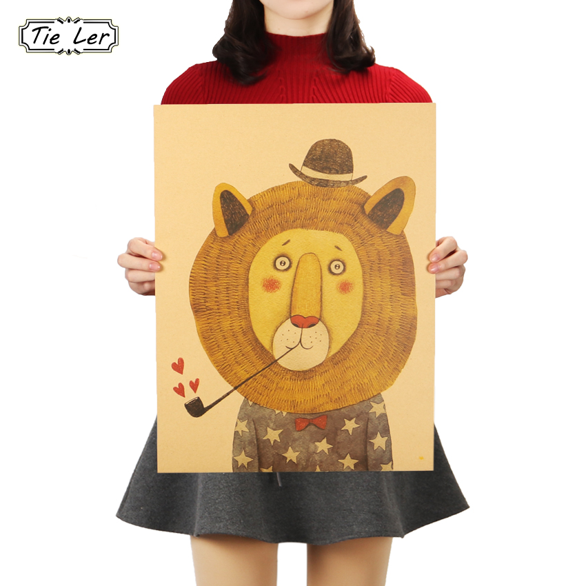 TIE LER Cute Animals Lion Poster Wall Sticker Art Kraft Paper Room Home Decorative Paintings 48X36cm