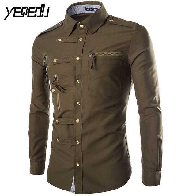 35dfdbf51e808  1122 2018 moda Slim fit hombres camisa de manga larga estilo militar  camisas para hombre