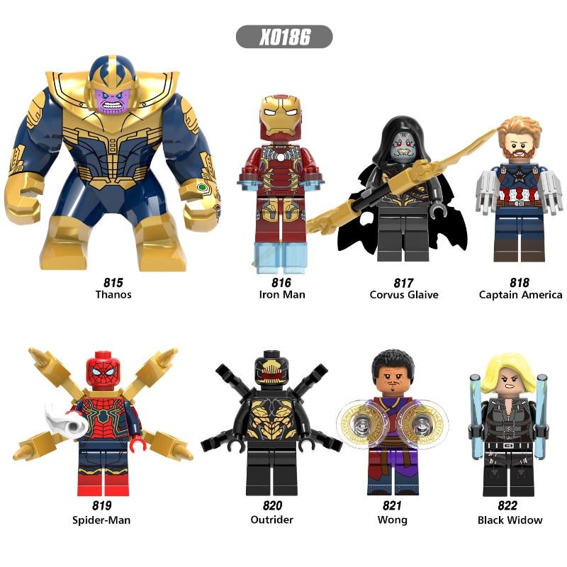 Super Heroes Single Sale Thanos Wong Iron Man Lady Death Captain America Black Widow Building Blocks Children Gift Toys X0186