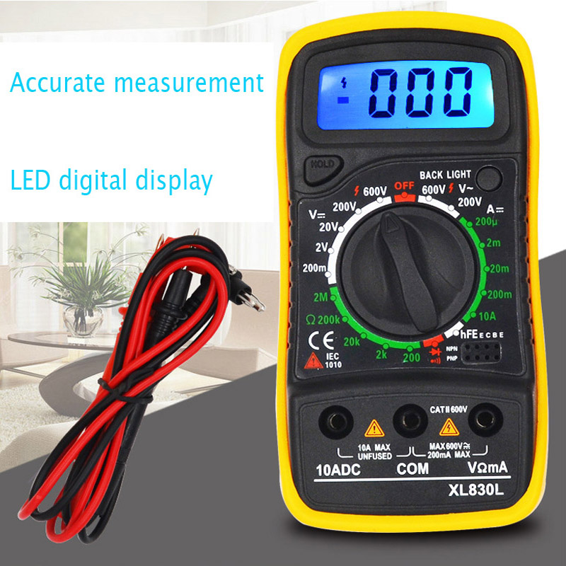 XL830L portable high precision digital display universal strap with backlight electric multifunction meter