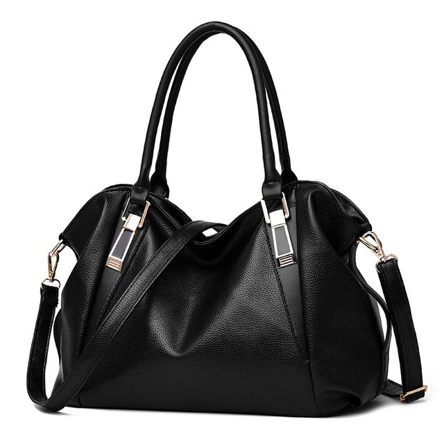 Nuevo bolso de LA PU de alta capacidad ocio color sólido suave hombro mujer bolso de documentos de telefonía móvil