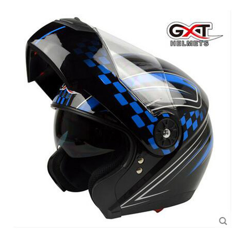 2017 New GXT Flip Up motorcycle helmet anti-fog double lens flip up motorbike helmets undrape face moto racing helmet ABS red green lines double lens motorcycle crash helmet high quality flip up electric motorbike full face motorcycle helmet