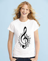 Treble Clef Music Notes Cool Gift Unisex Men Women White Top T Shirt 2017 Women New