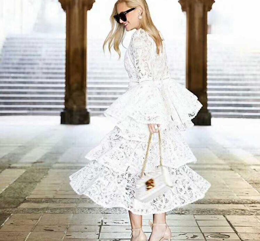 Осенне зимнее Модное Новое Белое платье женские вечерние кружевные платья с расклешенными рукавами Лидер продаж - 4