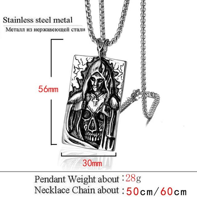 STAINLESS STEEL DEATH SATAN CROSS NECKLACE