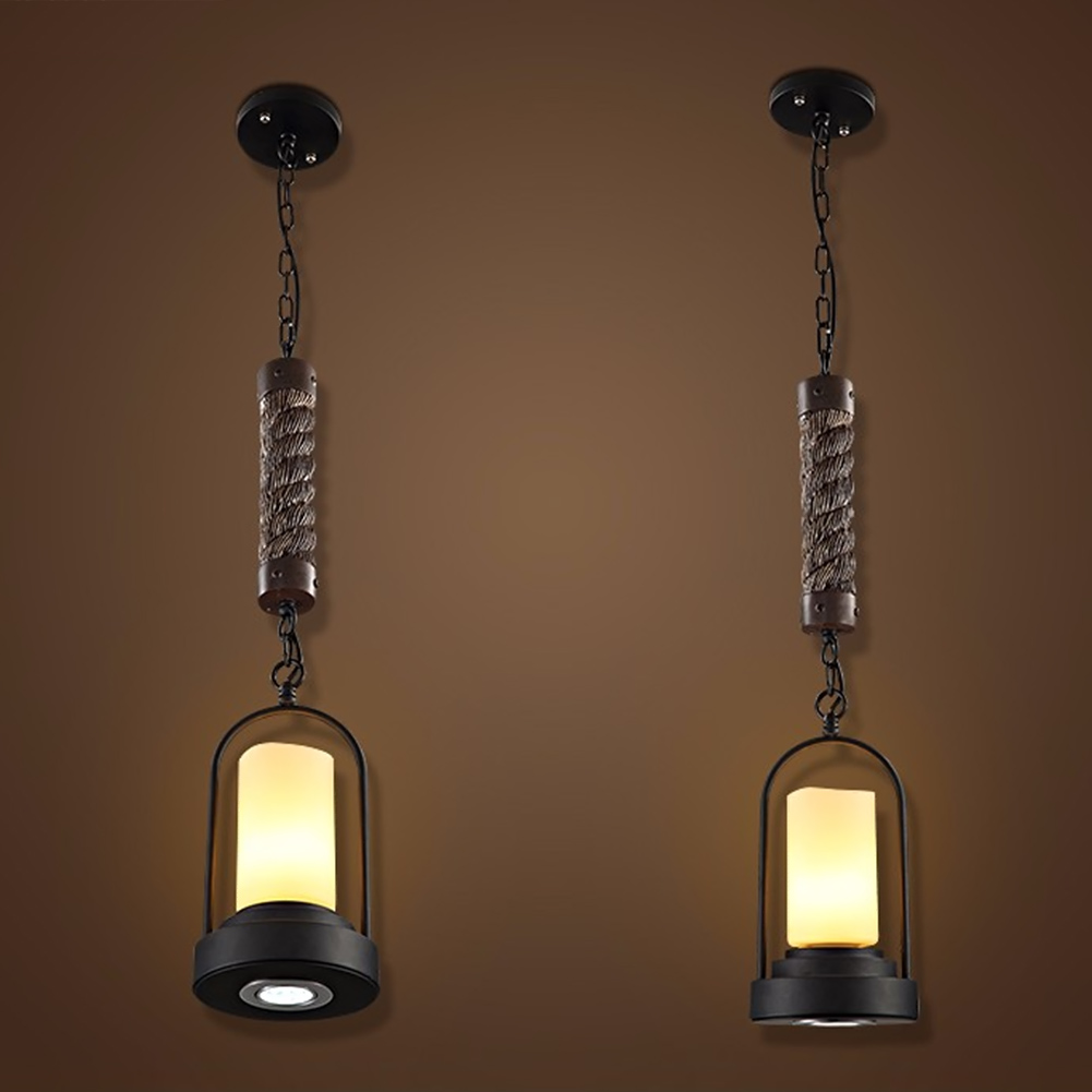 Lamp Light Creative Brief American Country Industry Of Lamps And Lanterns Retro Restaurant Bar Hemp Rope