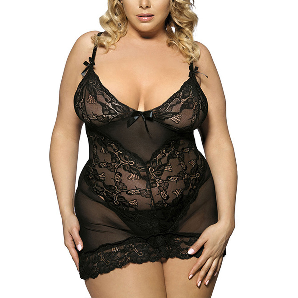 Plus Size 5XL Women Sexy Lingerie Babydoll Erotic Black Lace Large Size Costumes Sleepwear Dress Transparent Sexy Underwear