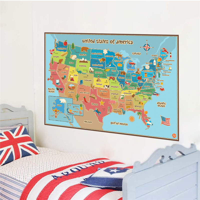 United States American Map Wall Stickers For Kids Rooms Baby Nursery Foods Home Decor Animals Wall Decals Pvc Mural Art Posters